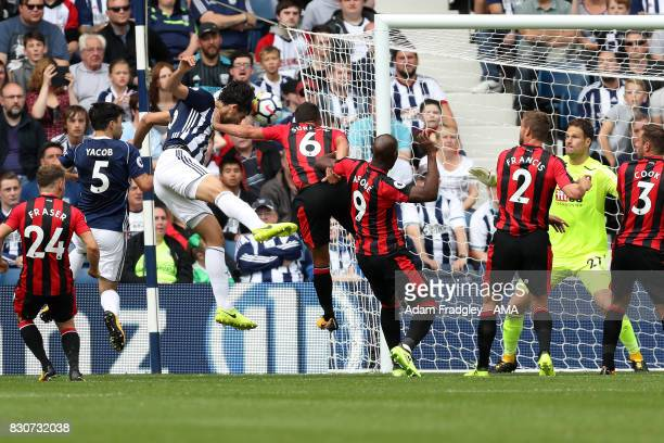 Ahmed Hegazi of West Bromwich Albion scores a goal to make it 10 during the Premier League match between West Bromwich Albion and AFC Bournemouth at...