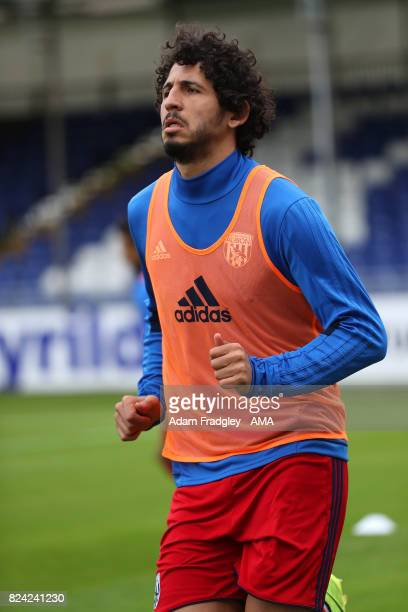 Ahmed Hegazi of West Bromwich Albion warms up before the Pre Season Friendly match between Bristol Rovers and West Bromwich Albion at Memorial...