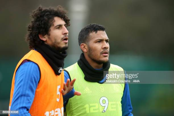Ahmed Hegazy and Salomon Rondon of West Bromwich Albion during training on December 5 2017 in West Bromwich England