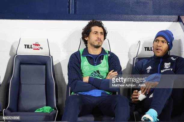 Ahmed Hegazy and Salomon Rondon of West Bromwich Albion during to the Carabao Cup Third Round fixture between West Bromwich Albion and Manchester...
