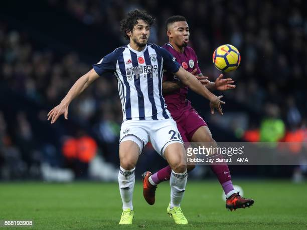 Ahmed Hegazy of West Bromwich Albion and Gabriel Jesus of Manchester City during the Premier League match between West Bromwich Albion and Manchester...
