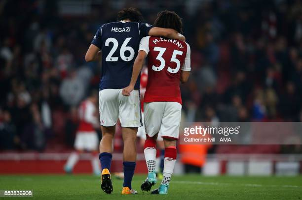 Ahmed Hegazy of West Bromwich Albion and Mohamed Elneny of Arsenal during the Premier League match between Arsenal and West Bromwich Albion at...