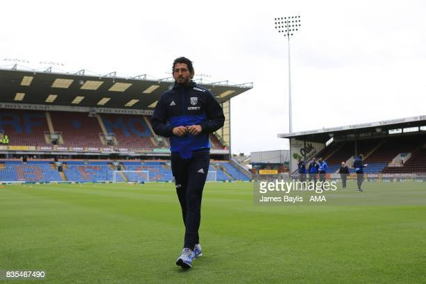 Ahmed Hegazy of West Bromwich Albion arrives at the ground before the Premier League match between Burnley and West Bromwich Albion at Turf Moor on...