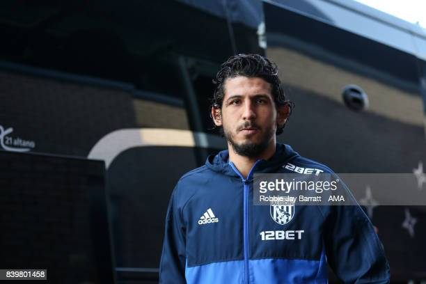 Ahmed Hegazy of West Bromwich Albion arrives during the Premier League match between West Bromwich Albion and Stoke City at The Hawthorns on August...