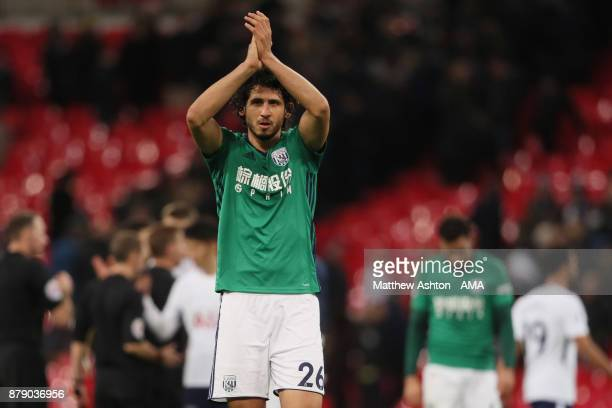 Ahmed Hegazy of West Bromwich Albion at the end of the game during the Premier League match between Tottenham Hotspur and West Bromwich Albion at...