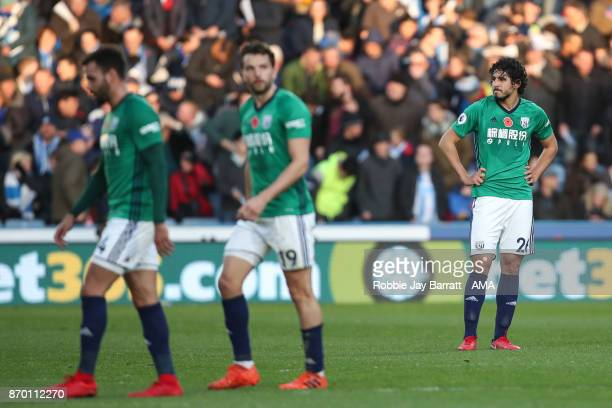 Ahmed Hegazy of West Bromwich Albion dejected after conceding during the Premier League match between Huddersfield Town and West Bromwich Albion at...
