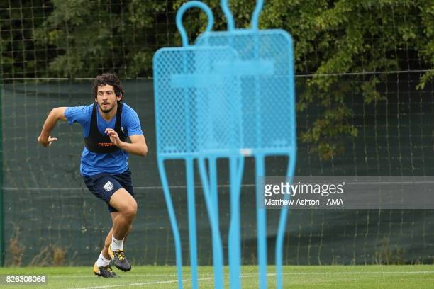 Ahmed Hegazy of West Bromwich Albion during a training session on August 3 2017 in West Bromwich England