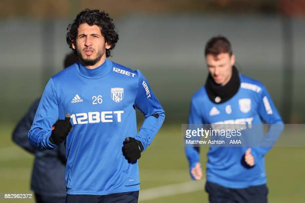 Ahmed Hegazy of West Bromwich Albion during a training session on November 30 2017 in West Bromwich England