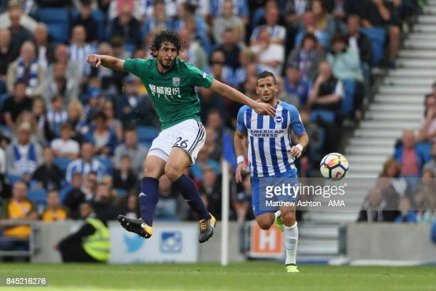 Ahmed Hegazy of West Bromwich Albion during the Premier League match between Brighton and Hove Albion and West Bromwich Albion at Amex Stadium on...