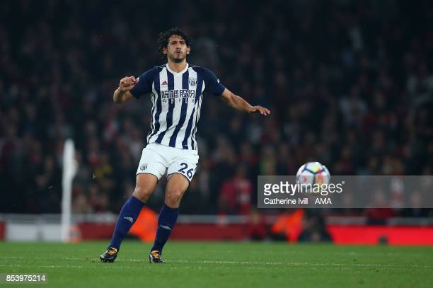 Ahmed Hegazy of West Bromwich Albion during the Premier League match between Arsenal and West Bromwich Albion at Emirates Stadium on September 25...
