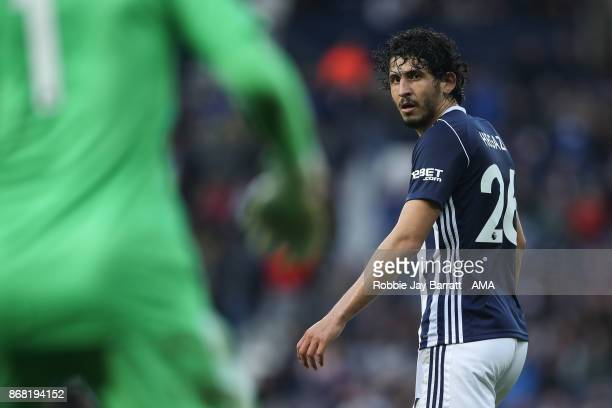 Ahmed Hegazy of West Bromwich Albion during the Premier League match between West Bromwich Albion and Manchester City at The Hawthorns on October 28...