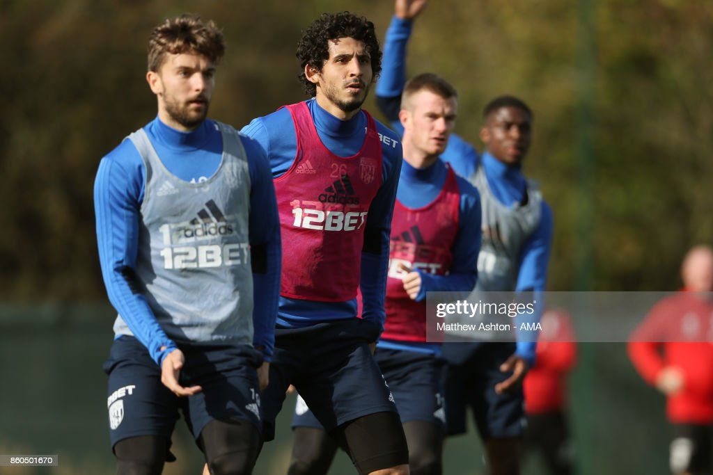 Ahmed Hegazy of West Bromwich Albion during the West Bromwich Albion training session on October 12, 2017 in West Bromwich, England.
