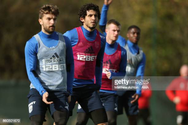 Ahmed Hegazy of West Bromwich Albion during the West Bromwich Albion training session on October 12 2017 in West Bromwich England