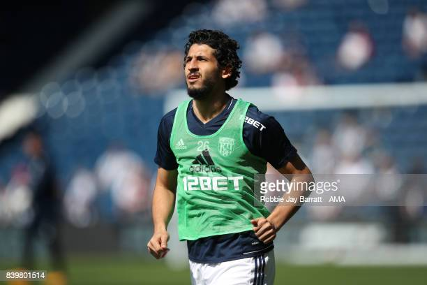 Ahmed Hegazy of West Bromwich Albion warms up during the Premier League match between West Bromwich Albion and Stoke City at The Hawthorns on August...