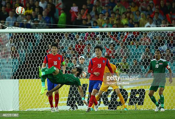 Ahmed Ibrahim of Iraq attempts a shot on goal during the Asian Cup Semi Final match between Korea Republic and Iraq at ANZ Stadium on January 26 2015...