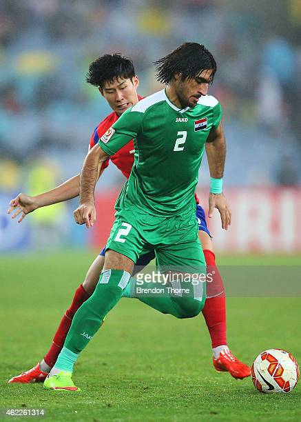 Ahmed Ibrahim of Iraq competes with Son Heung Min of Korea Republic during the Asian Cup Semi Final match between Korea Republic and Iraq at ANZ...