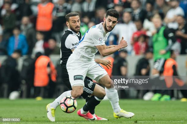 Ahmed Ildiz of Kasimpasa AS Cenk Tosun of Besiktas JKduring the Turkish Spor Toto Super Lig football match between Besiktas JK and Kasimpasa AS on...