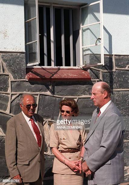 Ahmed Kathrada a former political prisoner on Robben Island gives a brief history of the island to Queen Sonja and King Harald V of Norway in the...