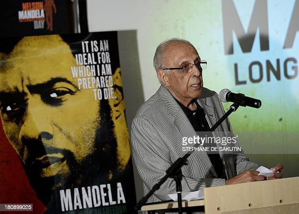 Ahmed Kathrada antiapartheid activist and close friend of former South African President Nelson Mandela delivers a speech on September 17 2013 during...