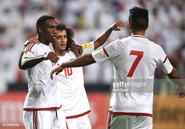 Ahmed Khalil of UAE celebrates his goal with Omar Abdulrahman during the 2018 FIFA World Cup Qualifier match between UAE and Thailand at Mohamed Bin...