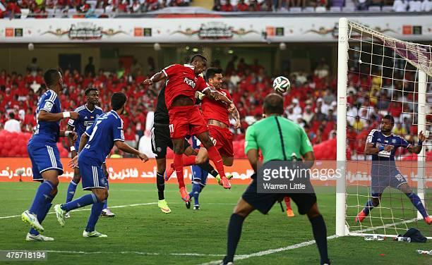 Ahmed Khalil Sebait Mubark Alkunaibi of Al Ahli scores the first goal during the President's Cup Final between Al Ahli and Al Nasr at Hazza bin Zayed...