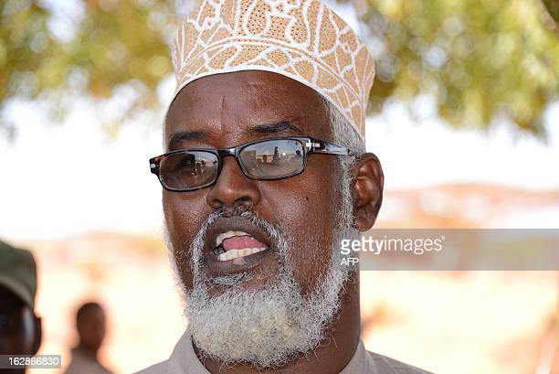 Ahmed Mohamed Madobe leader of the Ras Kamboni militia speaks during a meeting for the creation of a State of Jubaland in Kismayo on February 28 2013...