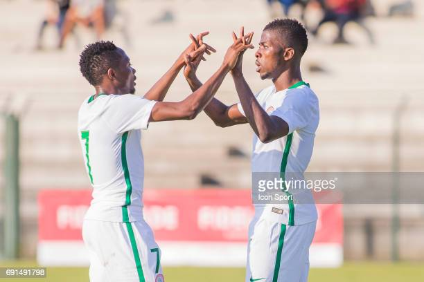Ahmed Musa and kelechi Iheanacho of Nigeria during the soccer friendly match between Nigeria and Togo on June 1 2017 in St LeulaForet France