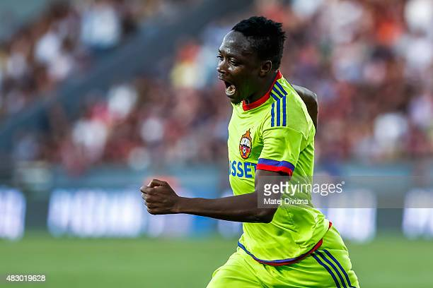 Ahmed Musa of CSKA Moscow celebrates his goal during the UEFA Champions League Third Qualifying Round 2nd Leg match between Sparta Prague and CSKA...