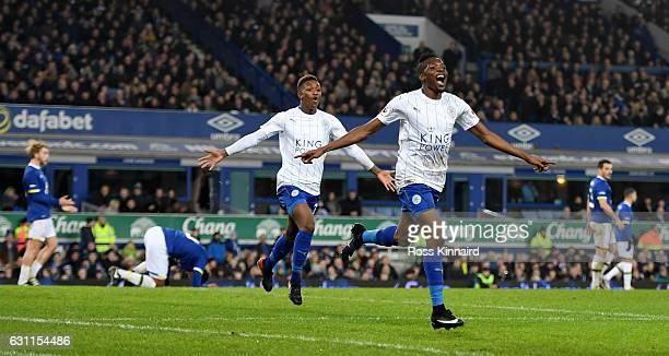 Ahmed Musa of Leicester City celebrates scoring his sides second goal during the Emirates FA Cup third round match between Everton and Leicester City...