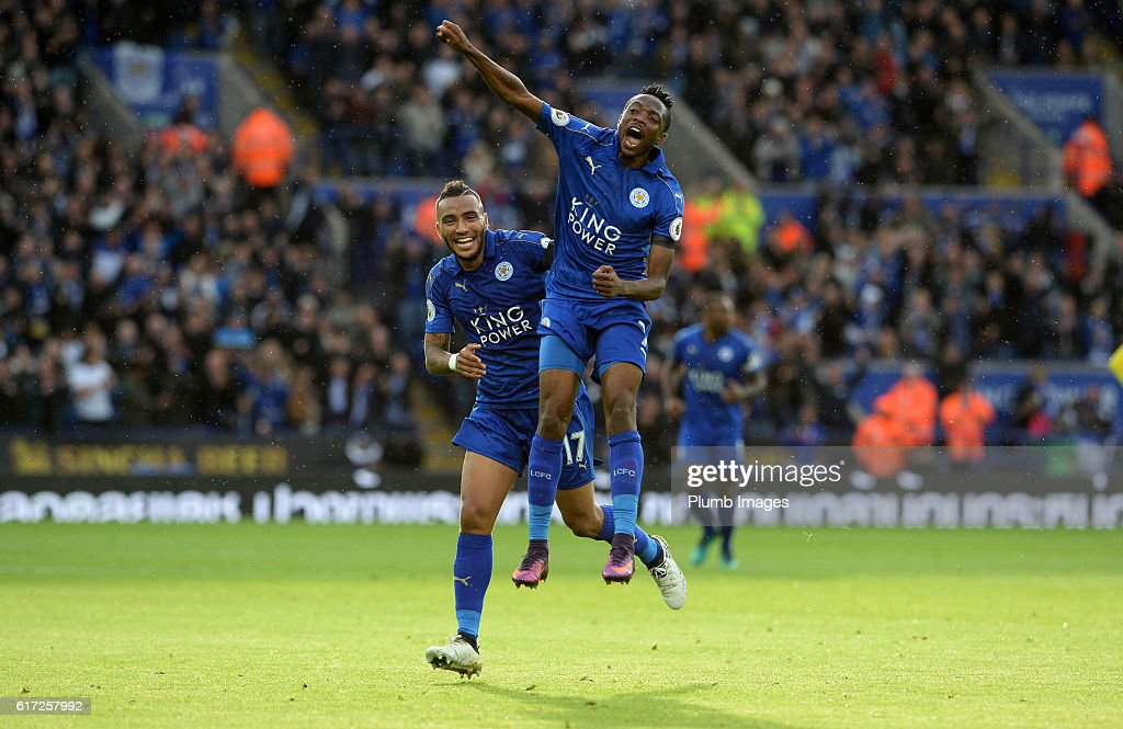 Ahmed Musa of Leicester City celebrates with Danny Simpson of Leicester City after scoring to make it 1-0 during the Barclays Premier League match between Leicester City and Crystal Palace at the King Power Stadium on October 22, 2016 in Leicester, United Kingdom.