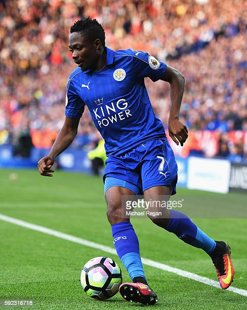 Ahmed Musa of Leicester City in action during the Premier League match between Leicester City and Arsenal at The King Power Stadium on August 20 2016...