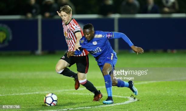 Ahmed Musa of Leicester City in action with Denver Hume of Sunderland during the Premier League 2 match between Leicester City and Sunderland at...
