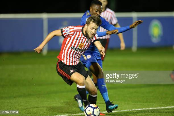 Ahmed Musa of Leicester City in action with Josh Robson of Sunderland during the Premier League 2 match between Leicester City and Sunderland at...