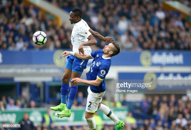 Ahmed Musa of Leicester City in action with Morgan Schneiderlin of Everton during the Premier League match between Everton and Leicester City at...