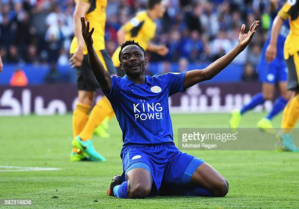 Ahmed Musa of Leicester City reacts during the Premier League match between Leicester City and Arsenal at The King Power Stadium on August 20 2016 in...