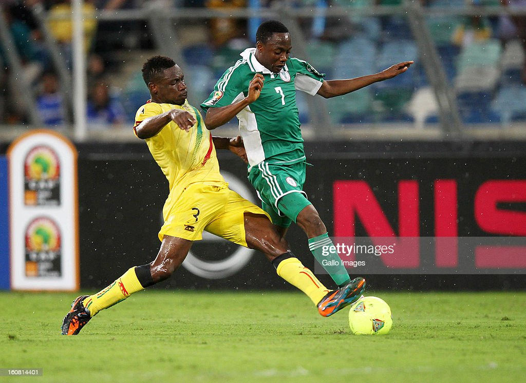 Ahmed Musa of Nigeria and Adama Tamboura of Mali during the 2013 Orange African Cup of Nations 1st Semi Final match between Mali and Nigeria at Moses Mabhida Stadium on February 06, 2013 in Durban, South Africa.