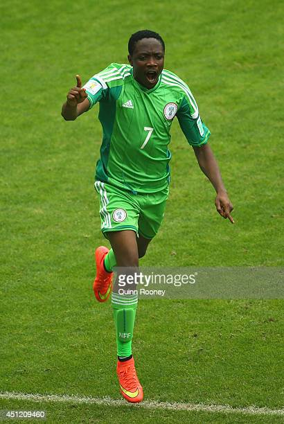 Ahmed Musa of Nigeria celebrates scoring his team's second goal and his second of the game during the 2014 FIFA World Cup Brazil Group F match...