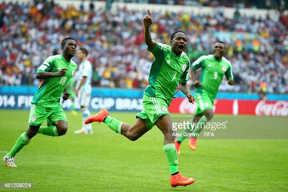 Ahmed Musa of Nigeria celebrates scoring his team's second goal during the 2014 FIFA World Cup Brazil Group F match between Nigeria and Argentina at...