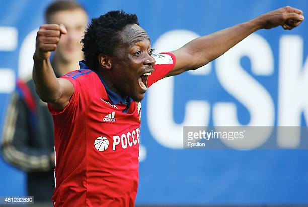 Ahmed Musa of PFC CSKA Moscow celebrates a goal during the Russian Premier League match between PFC CSKA Moscow and FC Rubin Kazan at the Arena...