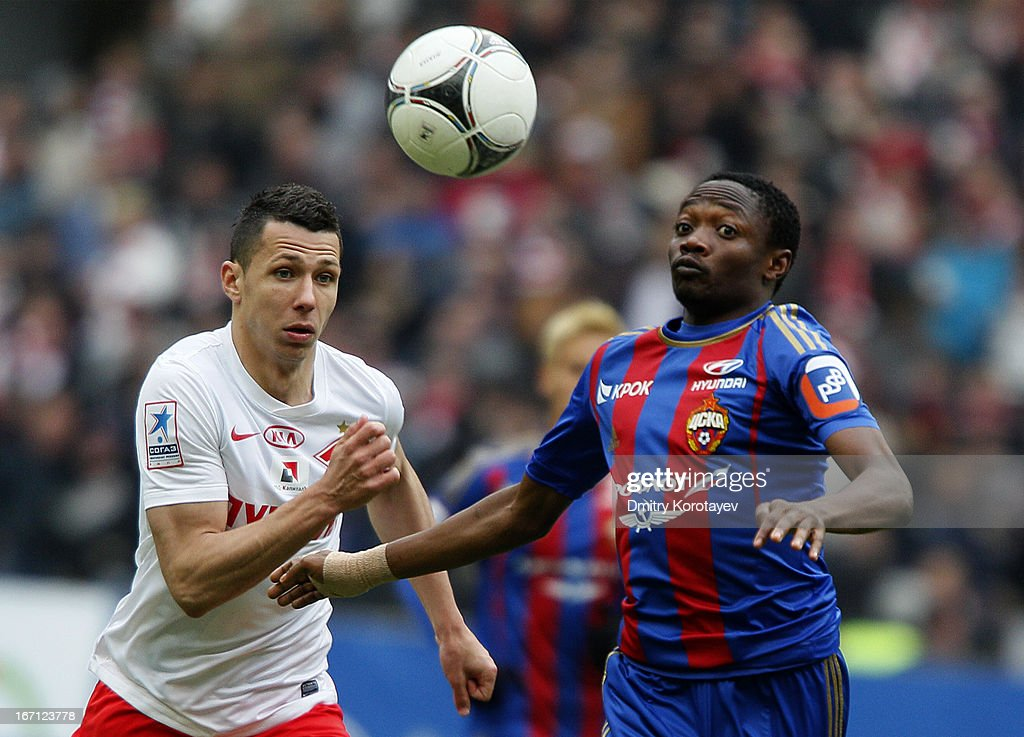Ahmed Musa (R) of PFC CSKA Moscow is challenged by Marek Suchy of FC Spartak Moscow during the Russian Premier League match between PFC CSKA Moscow and FC Spartak Moscow at the Luzhniki Stadium on April 21, 2013 in Moscow, Russia.