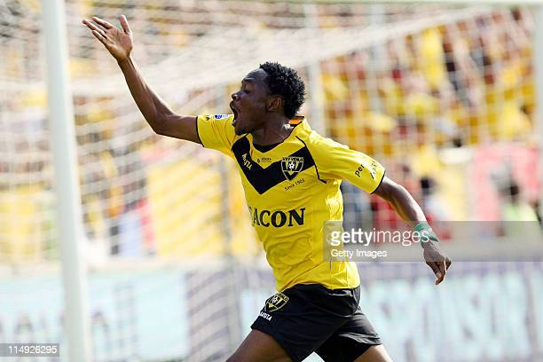 Ahmed Musa of Venlo celebrates his goal the Dutch Eredivise Play Off Final Second Leg match between VVV Venlo and FC Zwolle at Seacon Stadion de Koel...