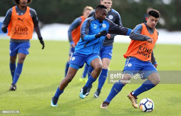 Ahmed Must and Josh Gordon of Leicester City warm up ahead of the Premier League 2 match between Leicester City and Everton at Belvoir Drive Training...