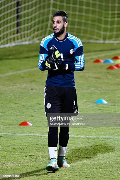 Ahmed Nasser Chennaoui goalkeeper of Egypt's national football team takes part in a training session at the Petro Sport Stadium in Cairo on November...