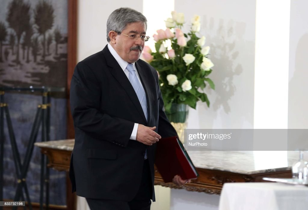 Ahmed Ouyahia arrives for a press conference in Algiers, Algeria, on 17 August 2017. The chief of staff of President Bouteflika Ahmed Ouyahia was appointed Prime Minister to replace Abdelmadjid Tebboune.