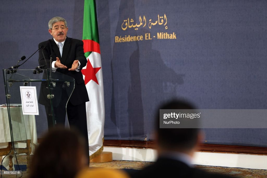 Ahmed Ouyahia during a press conference in Algiers, Algeria, on 17 August 2017. The chief of staff of President Bouteflika Ahmed Ouyahia was appointed Prime Minister to replace Abdelmadjid Tebboune.