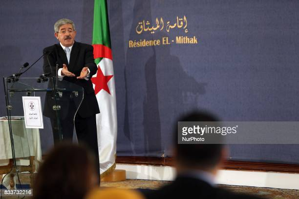 Ahmed Ouyahia during a press conference in Algiers Algeria on 17 August 2017 The chief of staff of President Bouteflika Ahmed Ouyahia was appointed...