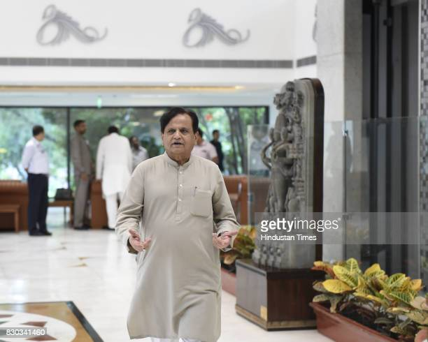 Ahmed Patel during Opposition party leaders meeting at Parliament House Annexe on August 11 2017 in New Delhi India Leaders of 16 opposition parties...