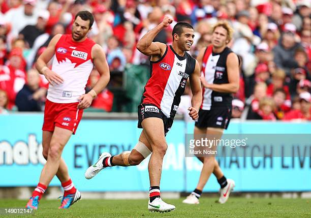 Ahmed Saad of St Kilda celebrates a goal during the round 17 AFL match between the Sydney Swans and the St Kilda Saints at the Sydney Cricket Ground...