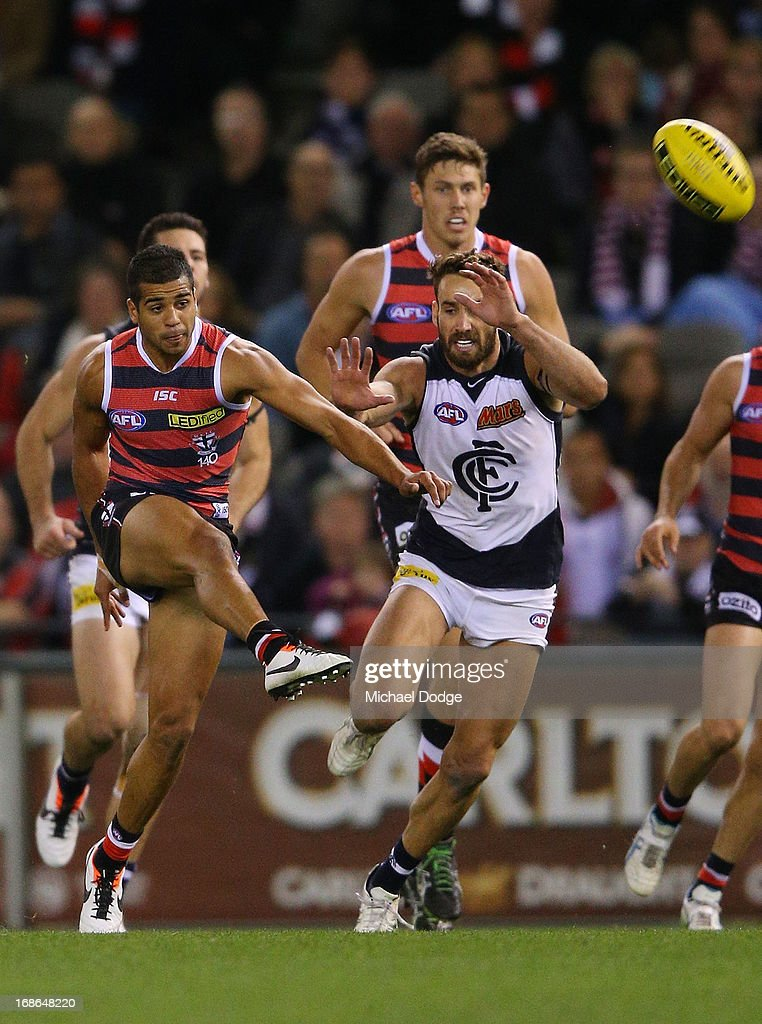 Ahmed Saad of the Saints kicks the ball for a goal during the round seven AFL match between the St Kilda Saints and the Carlton Blues at Etihad Stadium on May 13, 2013 in Melbourne, Australia.