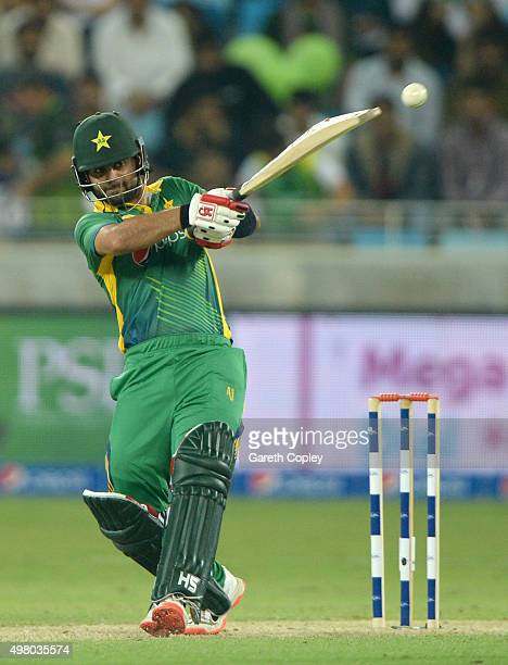 Ahmed Shehzad of Pakistan bats during the 4th One Day International between Pakistan and England at Dubai Cricket Stadium on November 20 2015 in...